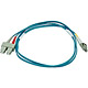 Product image for 10Gb Fiber Optic Cable, LC/SC, Multi Mode, Duplex - 1 Meter (50/125 Type) - Aqua