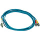Product image for 10Gb Fiber Optic Cable, LC/ST, Multi Mode, Duplex - 3 Meter (50/125 Type) - Aqua