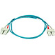 Product image for 10Gb Fiber Optic Cable, SC/SC, Multi Mode, Duplex - 1 Meter (50/125 Type) - Aqua