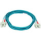 Product image for 10Gb Fiber Optic Cable, SC/SC, Multi Mode, Duplex - 5 Meter (50/125 Type) - Aqua