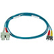 Product image for 10Gb Fiber Optic Cable, ST/SC, Multi Mode, Duplex - 1 Meter (50/125 Type) - Aqua