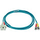 Product image for 10Gb Fiber Optic Cable, ST/SC, Multi Mode, Duplex - 2 Meter (50/125 Type) - Aqua