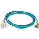Product image for 10Gb Fiber Optic Cable, ST/SC, Multi Mode, Duplex - 3 Meter (50/125 Type) - Aqua