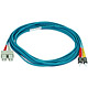 Product image for 10Gb Fiber Optic Cable, ST/SC, Multi Mode, Duplex - 5 Meter (50/125 Type) - Aqua