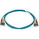 Product image for 10Gb Fiber Optic Cable, ST/ST, Multi Mode, Duplex - 1 Meter (50/125 Type) - Aqua