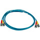 Product image for 10Gb Fiber Optic Cable, ST/ST, Multi Mode, Duplex - 2 Meter (50/125 Type) - Aqua