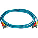 Product image for 10Gb Fiber Optic Cable, ST/ST, Multi Mode, Duplex - 3 Meter (50/125 Type) - Aqua