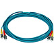 Product image for 10Gb Fiber Optic Cable, ST/ST, Multi Mode, Duplex - 5 Meter (50/125 Type) - Aqua