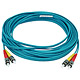 Product image for 10Gb Fiber Optic Cable, ST/ST, Multi Mode, Duplex - 10 Meter (50/125 Type) - Aqua